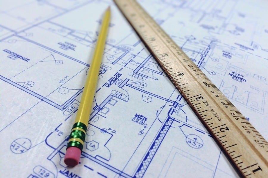 projekt budynku olowek linijka